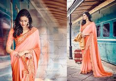 bd7adf0d69 Peach Color Saree, Peach Colors, Indian Designer Sarees, Pakistani Designers,  Reception Sarees