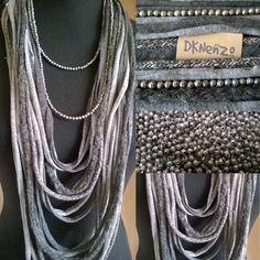 T-shirt Scarf/Necklase grijstinten en lange losse zilverkleurige Kralenketting dknenzo@upcmail.nl of Etsy.com