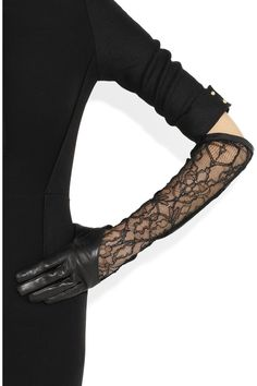 Valentino | Rockstud leather and lace long gloves | NET-A-PORTER.COM