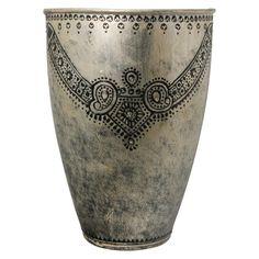 Antique-Retro Fusion Necklace Design Silver Finish Embossed Vase - Cultural Elements