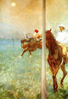 Jockeys before the Start with Flagpoll 1881  - Edgar Degas