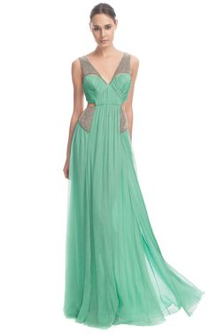 Matthew Williamson Crinkle Chiffon Embroidered Cut out Gown in soft jade