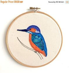 SALE 20%: Kingfisher embroidery hoop framed wall by DottyOnline