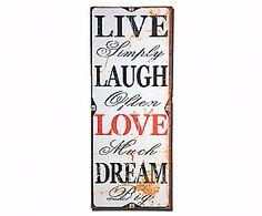 Tavola decorativa da parete Live Simply  - 30X75 cm