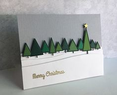 Layered Christmas Tree Holiday Card gifts diy homemade christmas Cards With Dimension Paper Crafts Class Homemade Christmas Cards, Christmas Cards To Make, Christmas Greeting Cards, Handmade Christmas, Homemade Cards, Christmas Diy, Christmas Trees, Cricut Christmas Cards, Diy Holiday Cards