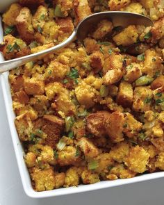 The most delicious, mouth-watering BACON-CORNBREAD Stuffing. Perfect for Thanksgiving!
