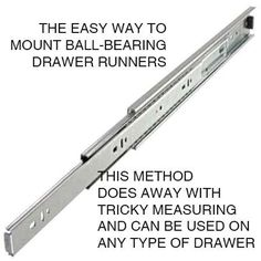 Mounting drawer runners can be tricky if you don't get the measurements right. I recently posted easy DIY Mounting drawer runners can be tricky if you don't get the measurements right. I recently posted easy DIY tips for mounting metal draw. Woodworking Bench, Woodworking Crafts, Woodworking Projects, Woodworking Classes, Woodworking Basics, Youtube Woodworking, Woodworking Jigsaw, Woodworking Equipment, Woodworking Joints