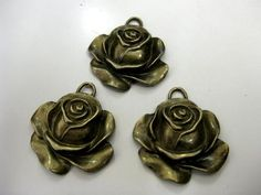 3 x Antique Bronze Vintage Style Rose Pendant Steam Punk Jewellery Making Crafts | eBay