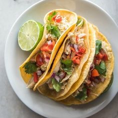 I've been making a version of these tacos in the slow cooker for years. It was only a matter of time before I made them in the pressure cooker. These Instant Pot Chicken Ranch Tacos are on th… Ranch Dressing Chicken, Chicken Ranch Tacos, Slow Cooker Chicken Tacos, Chicken Taco Recipes, Chickpea Tacos, Tofu Tacos, Vegan Tacos, Gluten Free Chicken, The Ranch