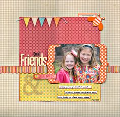 """good colors, like the brackets on this scrapbook page layout """"Friends"""" Friend Scrapbook, Kids Scrapbook, Scrapbook Paper Crafts, Scrapbook Cards, Scrapbook Layout Sketches, Scrapbooking Layouts, Photo Layouts, Making Ideas, Cardmaking"""