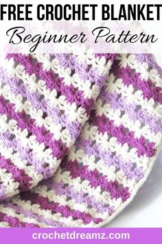 Do you love easy and quick crochet blanket patterns? Then try this beautiful afghan that is made with a simple stitch that looks like rows of flowers. This free pattern is beginner friendly and will help you make a unique afghan fast. Quick Crochet Blanket, Fast Crochet, Crochet Baby Blanket Free Pattern, Crochet Simple, Unique Crochet, Beautiful Crochet, Crochet Patterns Free Easy Quick, Beginner Crochet Blankets, Quick Crochet Gifts