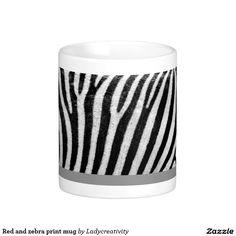 Red and zebra print mug