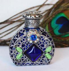 Blue Flower Czech Bottle