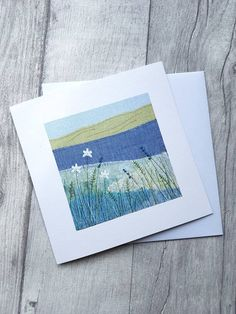 Your place to buy and sell all things handmade Freehand Machine Embroidery, Free Motion Embroidery, Free Machine Embroidery, Embroidery Applique, Embroidery Cards, Fabric Cards, Fabric Postcards, Landscape Art Quilts, Art Carte