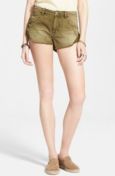 Free People Irreplaceable Cut-Off Distressed Jean Shorts Army Green F434P934 25 #FreePeople #MiniShortShorts