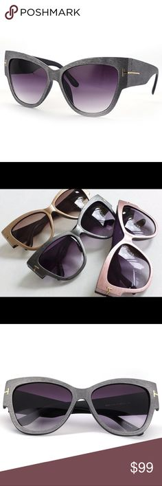 """🆕 Menton Ezil Woodgrain """"Anoushka"""" Style 🆕 Menton Ezil's own TF""""Anoushka"""" Style Overszd iconic Cateye/WoodGrain Look Sunglasses/Grey frame/European Design/Sunnies that walk at forefront of fashion/the rosegold T-design on frame create special attention 2 the sunnies! 100% protection from UVA/UVB rays/relax/enjoy the Sun when U're out doing life's activities/Same,TF """"Anoushka""""Stylish Design high-quality woodgrain look,doesn't chg w the weather/Comfy NosePad/UR the focal point&different…"""