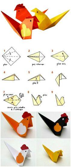 DIY tuto enfant facile pour faire une cocotte ou une poule en papier #origami