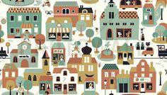 Town - Green - Tapetit / tapetti - Photowall