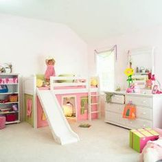girls bunk beds with slide | ... to a website where you can buy the Princess Low Loft Bed with Slide