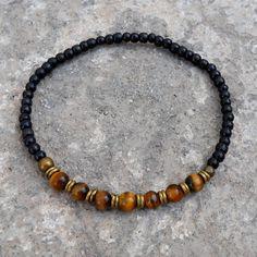 Ebony and tiger's eye gemstone mala bracelet with African trade beads