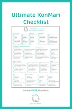 Looking to declutter the way? Use this Ultimate KonMari Checklist. Declutter Your Home, Organize Your Life, Cleaning Checklist, Cleaning Hacks, Konmari Methode, Life Organization, Getting Organized, Lps, Clean House