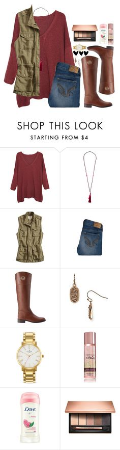 """karina!"" by lydia-hh ❤ liked on Polyvore featuring Violeta by Mango, Lucky Brand, Hollister Co., Tory Burch, Kendra Scott, Kate Spade and Clarins"