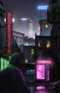 Nice neo-noir imagery here. Cyberpunk Aesthetic, Cyberpunk City, Futuristic City, Cyberpunk 2077, Blade Runner, Science Fiction, Sci Fi City, Cyberpunk Character, Illustration