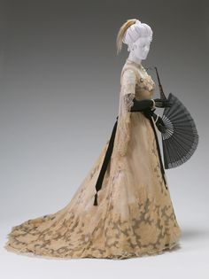"historiful: "" Evening dress, designed by Charles Frederick Worth (1825-1895), 1890. (Courtesy of the Mint Museum of Art, Charlotte, North Carolina) "" Love the accessories!"