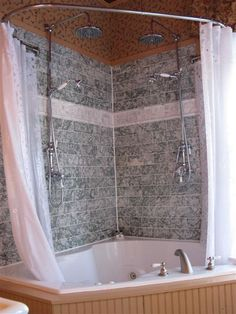 Shower Tub Curtain you get the best of both worldsa vintage inspired soak tub and