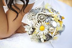 Brooch and Fabric Bouquet - Made to Order Large Bouquet Yellow and Gray. $290.00, via Etsy.