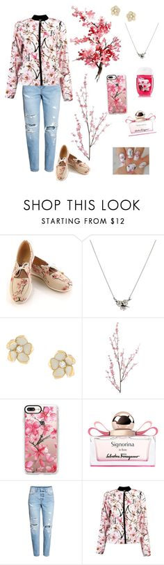 """Cherry blossom outfit"" by cheleniak ❤ liked on Polyvore featuring Goby, Shaun Leane, Pier 1 Imports, Casetify, Salvatore Ferragamo and Boohoo"