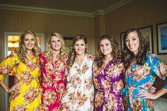 5 Bridesmaids Kimono Crossover Robe Spa Wrap Perfect bridesmaids gift, getting ready robes, Weddingl shower party favors. $150.00, via Etsy.