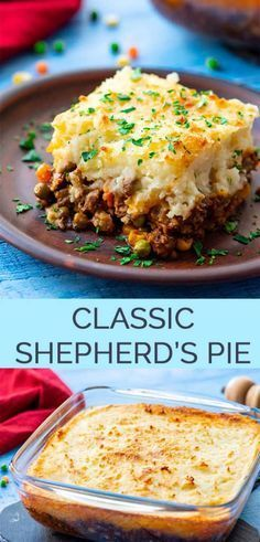 The Best Classic Shepherds Pie - AKA Shepards Pie or Cottage Pie. Ground Beef (or lamb) with vegetables in a rich gravy topped with cheesy mashed potatoes and baked. via Amanda {The Wholesome Dish} Beef Recipes For Dinner, Ground Beef Recipes, Meat Recipes, Cooking Recipes, Chicken Recipes, Crockpot Recipes, Vegetarian Recipes, Healthy Recipes, Salmon Recipes