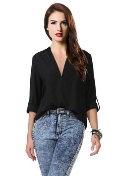 Amoin Women's Spicy Girl Solid V-neck Loose Chiffon Shirt Blouse at Amazon Women's Clothing store: