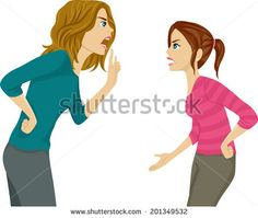 Illustration of a Mother and Daughter Arguing - stock vector