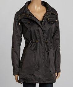 Black Drawstring-Waist Twill Coat
