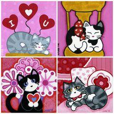 VALENTINE CATS Blank Note CARDS  Set of 4 Folk Art by thatsmycat