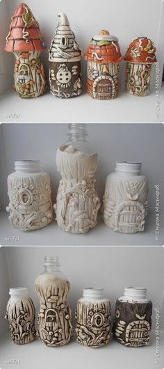 DIY Fairy Wine Bottle House idea - wrap an upcycled wine bottle with salt dough or polymer clay - could make this as a two separate bits the bottom and the roo Diy Clay, Clay Crafts, Diy And Crafts, Clay Fairy House, Fairy Houses, Bottle Art, Bottle Crafts, Salt Dough Crafts, Fairy Crafts