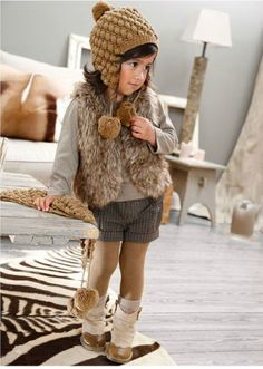 cute little girl's grey and brown winter outfit