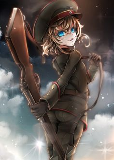 Anime picture with youjo senki tanya degurechaff gin ji single tall image short hair blue eyes blonde hair smile fringe cloud (clouds) standing hair between eyes looking back from behind shiny military girl uniform weapon Evil Anime, Anime Manga, Anime Art, Anime Girls, Kawaii Anime Girl, Anime Military, Military Girl, Anime Style, Mugiwara No Luffy