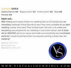 Kaylin's DJ Cancelled On Her 2 Weeks Before Her Wedding. Virtual Sounds Fixed The Problem :) #whodoesthat #virtualsounds #dj #weddingwire #review #testimonial #wedding #weddingreception #weddingceremony #ncwedding #outdoorwedding #bride #groom #happy #award http://ift.tt/22Yyiqn