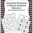 This is a great game to practice converting improper fractions to mixed numbers!  This kaboom game includes 66 game cards, plus 6 additional bomb...