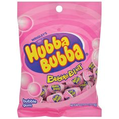 The original bubble gum we all know and love. Each big piece is individually wrapped so it stays soft and fresh. Ideal for children and adults. bag of Hubba Bubba® Bubble Blast Bubble Gum. Fini Tubes, Gum Brands, Bubble Gum Flavor, Gum Flavors, Pink Bubbles, Favorite Candy, Chewing Gum, Jelly Beans, Food Photography