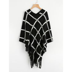 SheIn(sheinside) Tattersall Plaid Poncho Sweater ($15) ❤ liked on Polyvore featuring tops, sweaters, black, long sleeve poncho sweater, acrylic sweater, long sleeve sweater, loose sweater and plaid poncho sweater