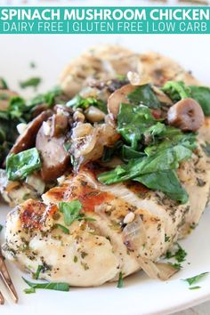 You're going to love this healthy, easy Spinach Mushroom Chicken recipe! It's totally delicious, dairy free, low carb & whole30 approved!