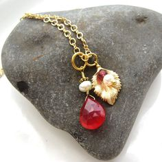 Ruby Red Gemstone and Gold Chain Necklace  by PETALTOMETALJEWELS, $39.00
