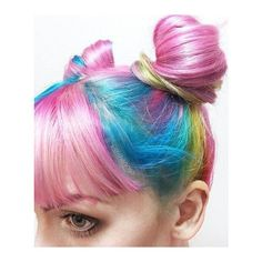 Pink blue rainbow pastel dyed hair Colorful Hair ❤ liked on Polyvore featuring hair, blue, blue hair, pink and pink hair