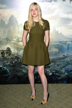 Elle Fanning in Valentino dress and Charlotte Olympia pumps | Elle Fanning Style - Elle Fanning Maleficent - Harper's BAZAAR
