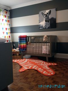 Striped Wall in Eclectic Girl's Baby Nursery Nursery Paint Colors, Basement Paint Colors, Nursery Neutral, Room Paint, Nursery Set Up, Nursery Room, Nursery Ideas, Striped Room, Striped Walls