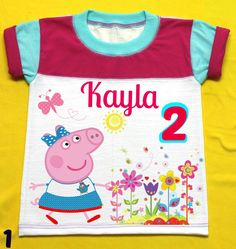 Peppa Pig  Birthday Girl Shirt Personalized with child name and age, color sleeve fuchsia and Aqua. by FantasyKidsParty on Etsy https://www.etsy.com/listing/465440022/peppa-pig-birthday-girl-shirt